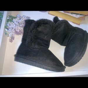 Black Faux Fur Boots Ugg Style